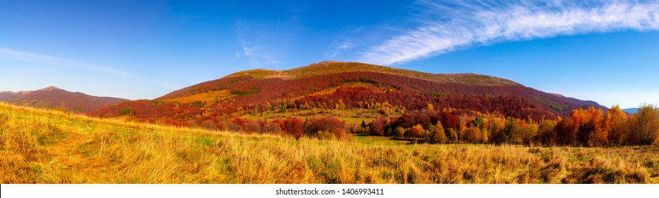 Mountain panorama in autumn in the rays of the sunset. Wielka Rawka - Bieszczady National Park - Poland