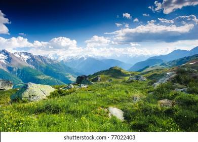 mountain panorama from fiescheralp and bettmeralp, wallis, switzerland