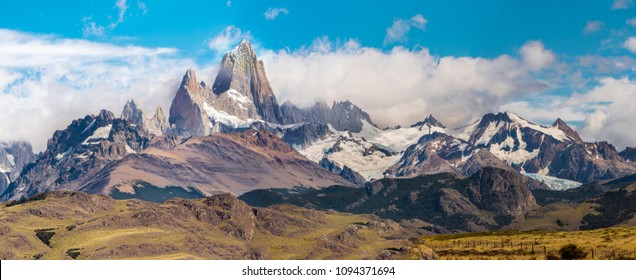 Mountain panorama with Fitz Roy peak at Los Glaciares National Park, Argentina