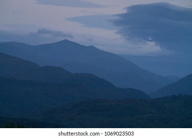 Mountain panorama landscape of the Scottish Highlands featuring the peaks of the Glen Affric range