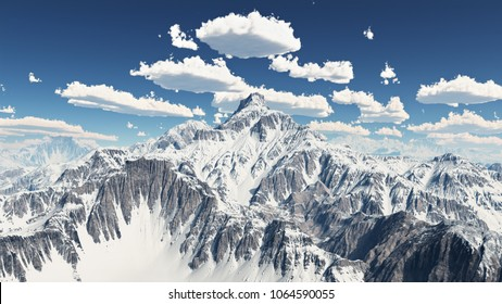 Mountain panorama with nice weather clouds Computer generated 3D illustration