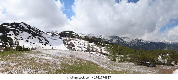 Mountain panorama of Slovenian and Austrian Alps. Ski resort Vogel , Slovenia