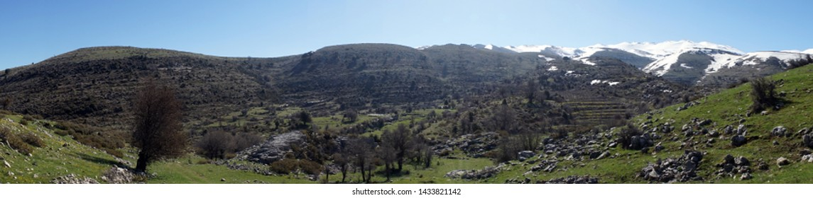 Mountain panorama with snow in Lebanon