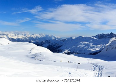 Mountain panorama with snow and ski tracks in winter in Stubai Alps, Austria