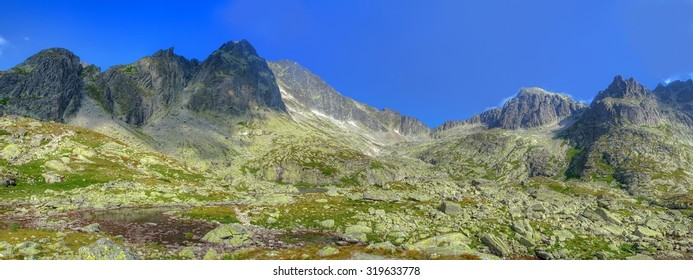 Mountain panorama. Summer landscape. View from Five Pond Spiskie Valley in High Tatra Mountains, Slovakia.
