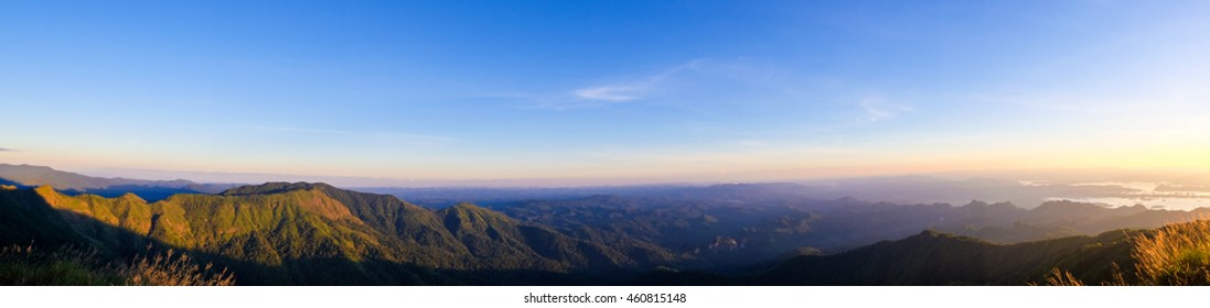 The mountain panorama view of Khao Laem National Park in Thailand