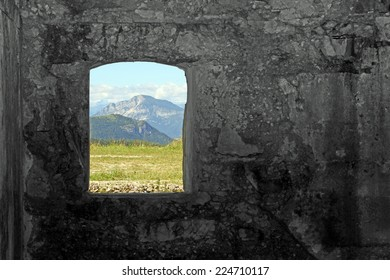 Mountain Panorama from the window of the Sommo Fort used by the austro Hungarian army during World War I in Italy