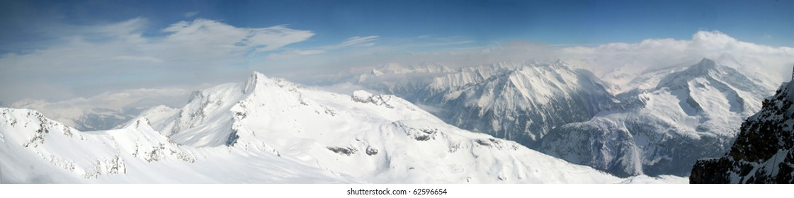 Mountain panorama.Alps.Ski area Zillertal
