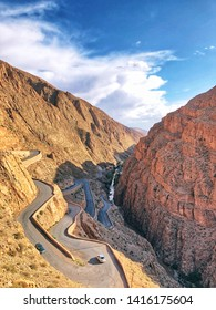 Mountain pass in Dades Gorges. Dades Gorge is a gorge of Dades River in Atlas Mountains in Morocco. Dades Gorge depth is from 200 to 500 meters.