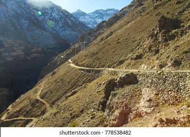A mountain pass in Imlil village , in The High Atlas Mountain of Morocco, Starting Point trekking to Toubkal Mountain