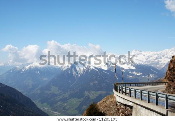 "Mountain pass ""Jaufenpass"" in the Italian Alps, in South Tyrol, near the Austrian border."