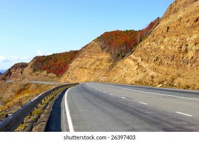 Mountain  pass Kholmskiy on island Sakhalin by autumn.