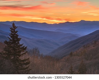 Mountain pass overlook at sunrise and golden hour with layers of rolling mountains in Great Smoky Mountain National park outside of Gatlinburg Tennessee