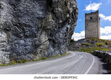Mountain pass road Fraele or Passo di Fraele, Sondrio Province, Italy