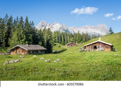Mountain pasture with wooden huts in the alps