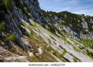 Mountain path to Crna prst in Slovenian alps - Shutterstock ID 1428221759