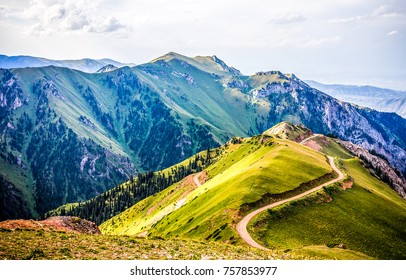 Mountain path to hill summer landscape