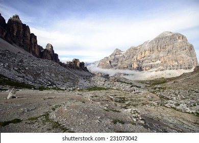 """Mountain Path in the Italian Dolomites with the """"Tofana di Rozes"""" on the background"""