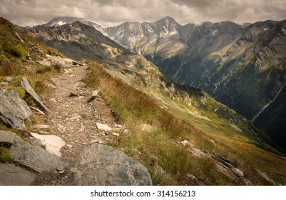 Mountain Path with Rocky Tops and Steep Hills in Summer, Mallnitz, Ankogel, High Tauern, Austria
