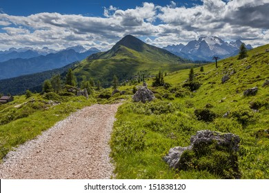 Mountain paths and majestic views of the Dolomites - Italy.