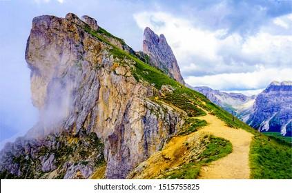 Mountain pathway on summit in fog - Shutterstock ID 1515755825