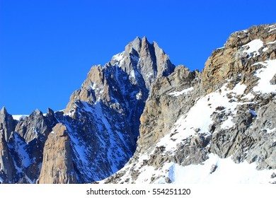 Mountain peak in Alps, Mont Blanc massif on France-Italy border