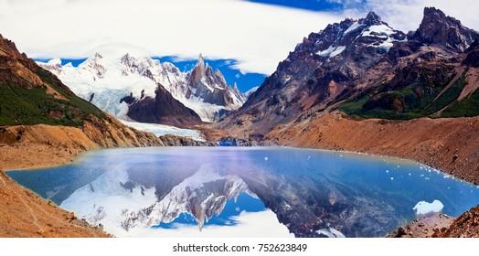 Mountain peak Cerro and Lagoon Torre. Andes. Argentina.