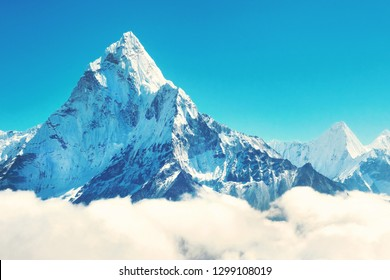 Mountain peak Everest. Highest mountain in the world. National P