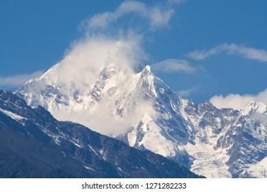 Mountain peak in Kanchenjunga range, Sikkim, India