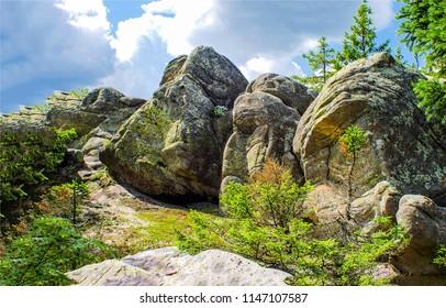 Mountain peak rocks view. Mountain rock climbing path. Mountain peak rock climbing scene