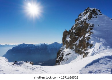 Mountain peak and snow panorama in San Domenico di Varzo, Piedmont, Italy.