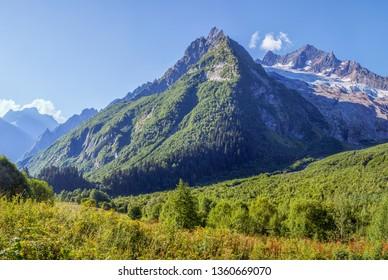 Mountain peak and summer greens, Northern Caucasus