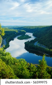 Mountain peak view with blue sky, river and trees from Delaware Water Gap, Pennsylvania.