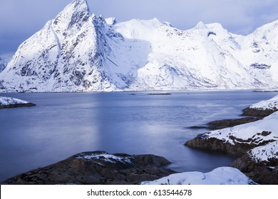 mountain peak at winter - Reine, Lofoten islands, Norway