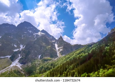 Mountain peaks against a blue sky on a sunny day. A range of Tatra mountains