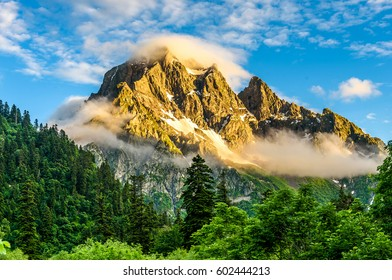 Mountain peaks in fog scenery landscape