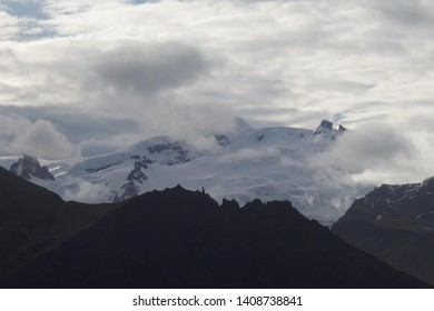 Mountain peaks and glacier in heavy clouds in National Park Skaftafell in South Iceland