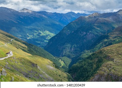 Mountain peaks in haze on Grossglockner alpine road