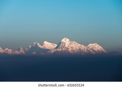 Mountain peaks including Lhotse, Everest, Makalu and Chomolonzo, viewed from Sandakphu, Darjeeling, India