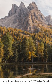 Mountain peaks near Tre Cime di lavaredo in the italian dolomites mountains with breathtaking scenery and green and yellow forested autumn trees