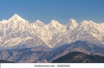 Mountain peaks Panchachuli in Kumaon Himalayas, India