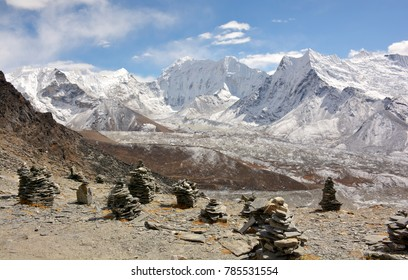 Mountain peaks, passes and glaciers in the Himalayas