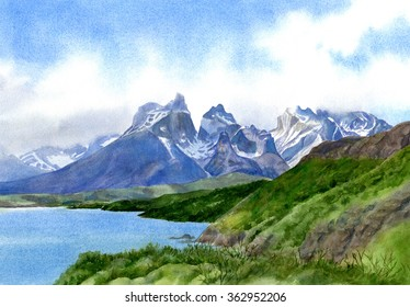 Mountain Peaks at Torres del Paine, landscape watercolor painting of the mountains at Torres del Paine National Park in Chile.