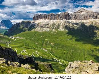 Mountain peaks view, dolomites landscape