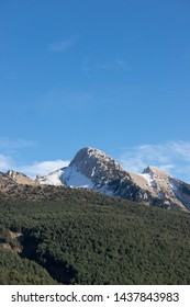 Mountain of Pedraforca, in Catalonia, Spain, beautiful view with snow in the spring