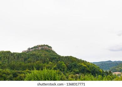 mountain pfaffenstein, saxon switzerland, saxony, germany on cloudy day