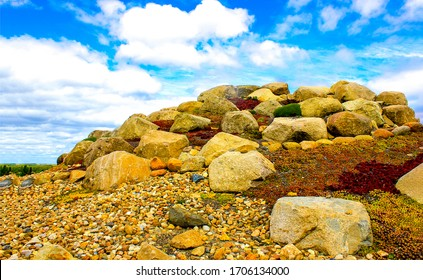 Mountain pile of stones view. Pile of stones view. Pile of stones