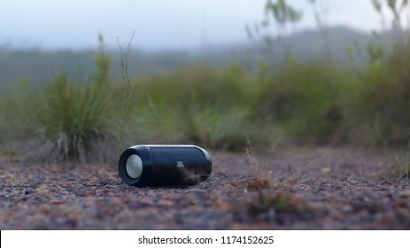 Mountain Pine Ridge, Belize - August 8, 2018: JBL speaker sits on the road whole blasting music to people nearby.