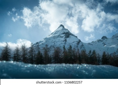 Mountain Piz ela covered in snow. Winter landscape sunny day. Taken on the road between Latsch and Stuls (bergün). High resolution, 24 megapixels. - Shutterstock ID 1106802257