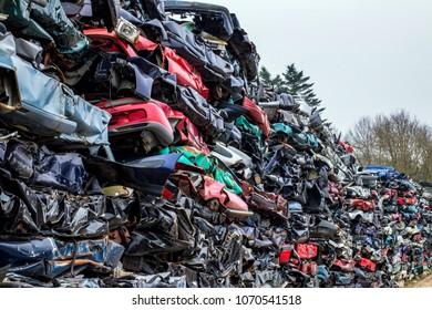 Mountain of pressed cars. Car dump